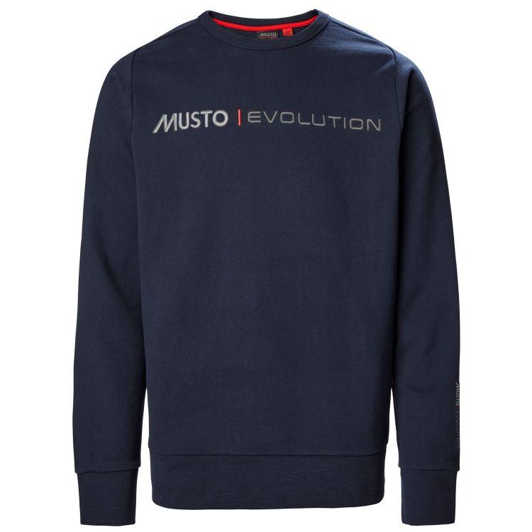 Eco Logo Crew Sweater fra Mustio i fargen True Navy. Produktbildet viser genseren sett forfra