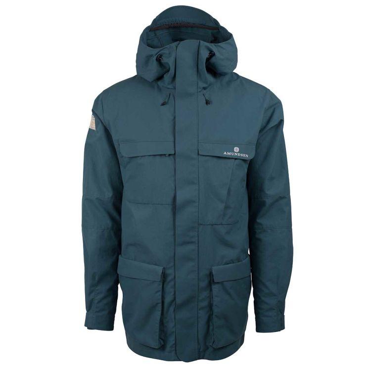 vidda jakken fra amundsens ports til herre i fargen faded blue. produktbilde sett forfra