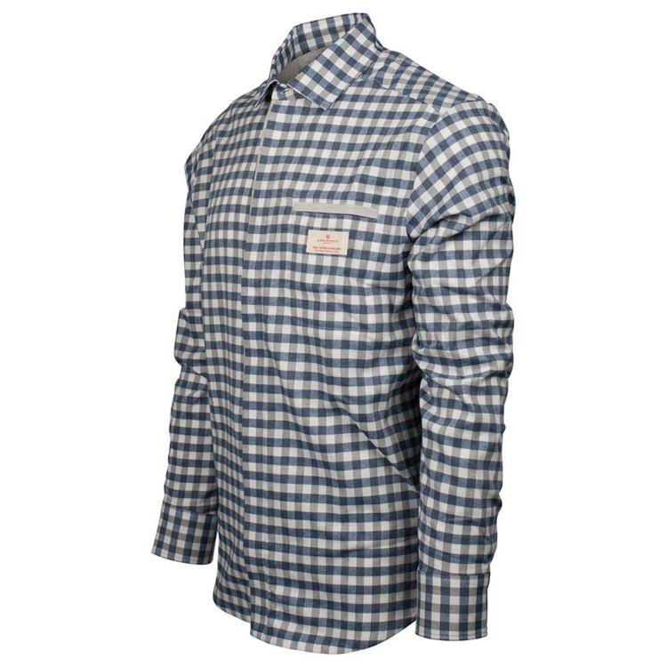 Amundsen Flannel Shirt til herre fra Amundsen Sports. Fargen Chequered Blue. Produktbildet viser skjorten sett skrått forfra
