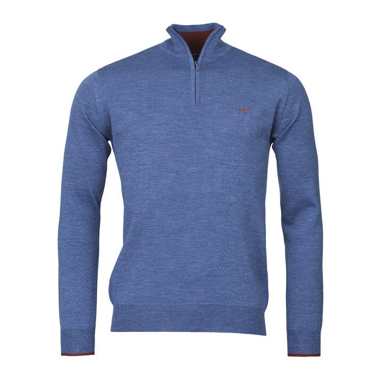Norfolk Zip-neck fra Laksen sporting til herre. i fargen denim