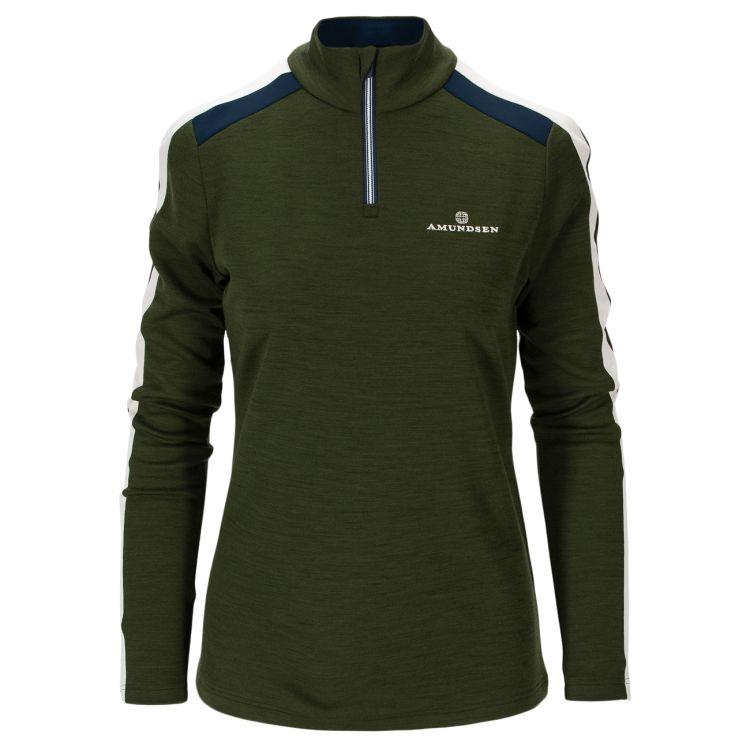5mila half zip fra Amunsen Sports til dame i fargen rifle green. Produktbildet viser genseren sett forfra