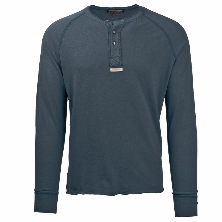 Summer Wool Henley genser fra Amundsen Sports. Til herre i fargen faded navy. Produktbildet viser genseren sett forfra