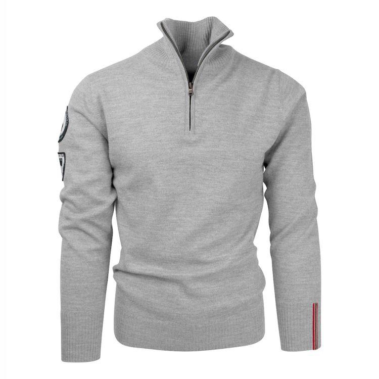 Amundsen Peak Half zip genser fra Amundsen Sports til herre, i fargen Light Grey. Produktbildet viser genseren sett forfra