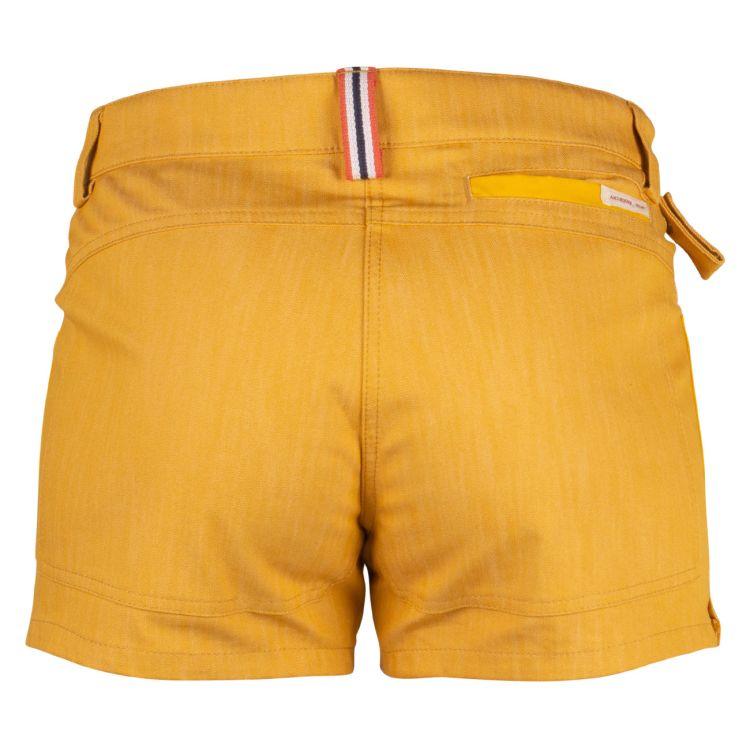 4 incher denim shorts fra amundsen sports til dame i fargen old yellow. produktbildet viser shortsen sett forfra