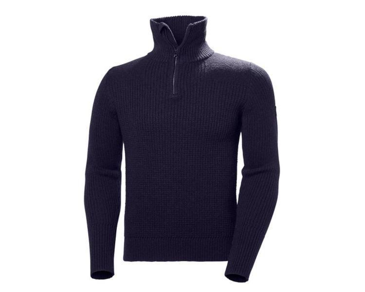 W Marka Wool Sweater Marine fra Helly Hansen til herre. Produktbildet viser genseren sett forfra
