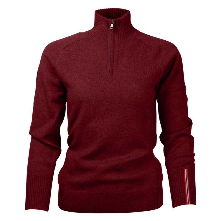 Amundsen Peak Half Zip til dame i fargen Ruby Red. Produktbildet viser genseren sett forfra