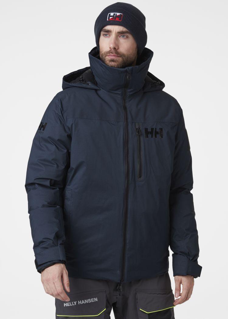 Arctic Ocean Puffy Jacket fra Helly Hansen i fargen navy. Produkt på kropp sett forfra
