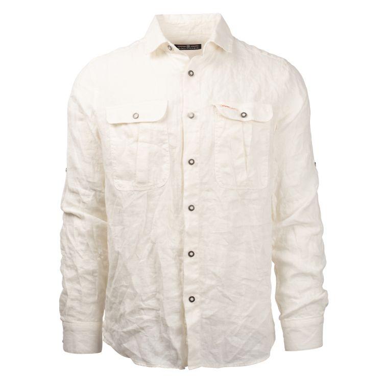 safari linen shirt herre hvit fra amundsen sports produktbilde sett forfra