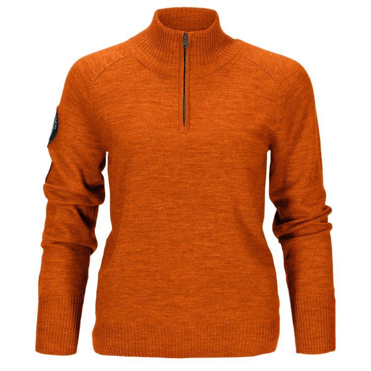 Amundsen Peak Half Zip til dame i fargen Iron Rust. Produktbildet viser genseren sett forfra