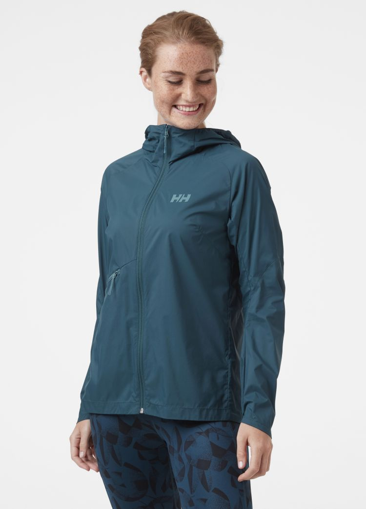 Rapide WIndbreaker Jacket fra Helly Hansen til dame i fargen midnight blue. Jakken vises sett forfra på kvinneligmodell