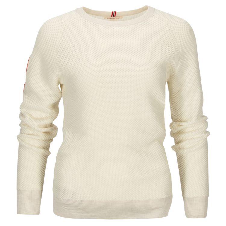 Drifter Sweater til dame fra Amundsen Sports i fargen oatmeal. Produktbildet viser genseren sett forfra