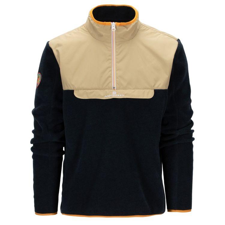 Roamer Fleece fra amundsen sports til herre i fargen desert/navy. produktbildet viser genseren sett forfra
