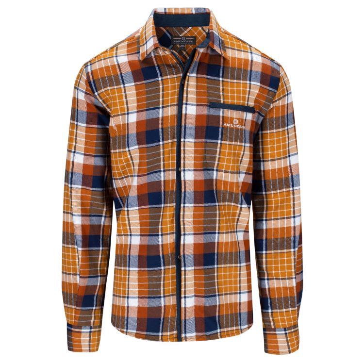 Skauen Field Shirt fra Amundsen Sports i fargen Chequered mustard yellow til herre. Produktbildet viser skjorten sett forfra