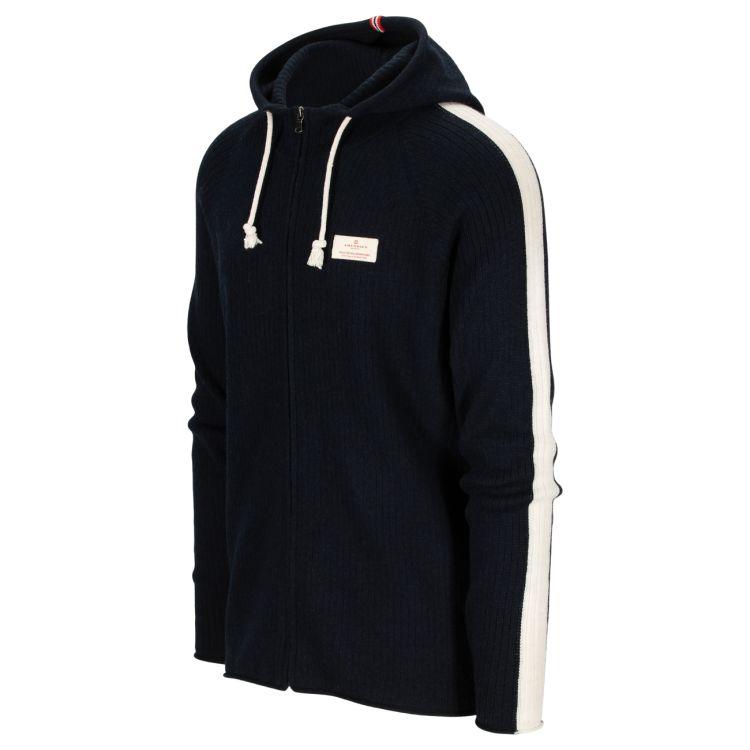 Boiled Jacket Stripes genser fra Amundsen Sports til herre i fargen navy. Produktbilde viser jakken/genseren sett skrått forfra