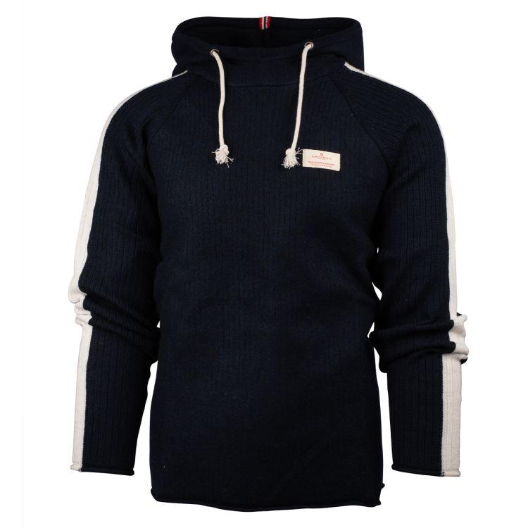 Boiled Hoodie Stripes  genser fra Amundsen SPorts til herre i fargen faded navy. Produktbilde sett forfra