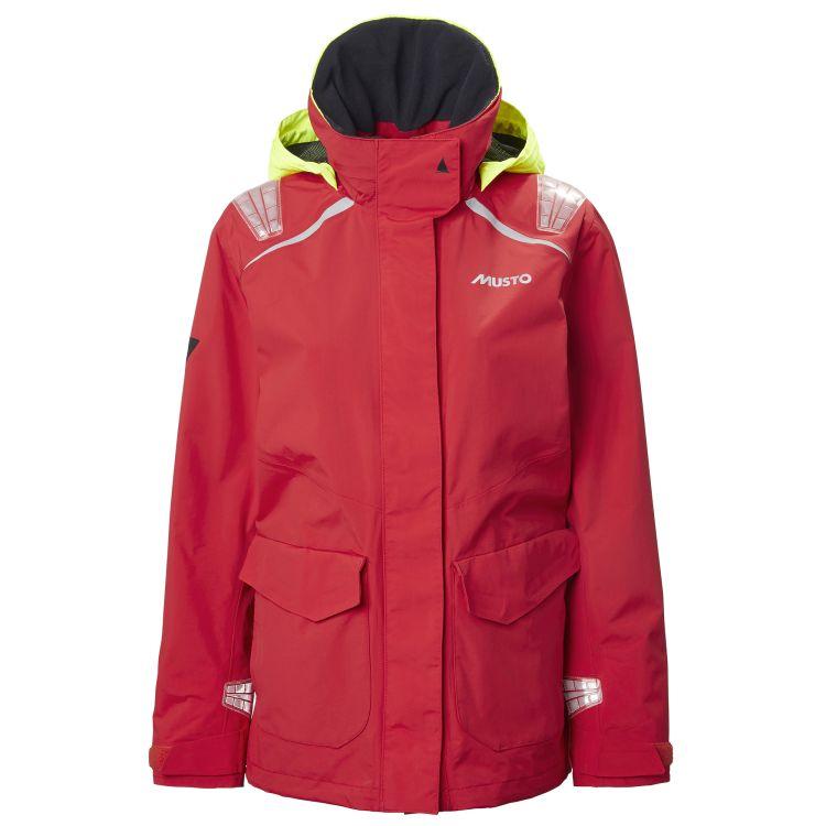 BR1 Inshore jakke til dame fra Musto i fargen True Red. Produktbildet viser jakken sett fra forsiden