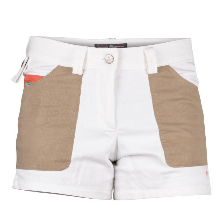 4 incher denim shorts fra amundsen sports til dame i fargen offwhite. produktbildet viser shortsen sett forfra