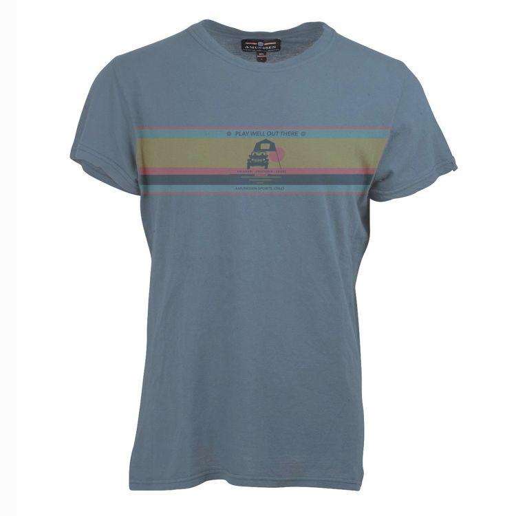 Summer Wool Tee Play Well fra Amundsen Sports til herre i fargen faded blue. Produktbildet viser tskjorten sett forfra