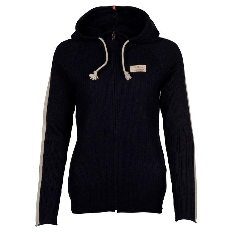 Boiled Jacket Stripes genser fra Amundsen Sports til dame i fargen navy. Produktbilde sett forfra