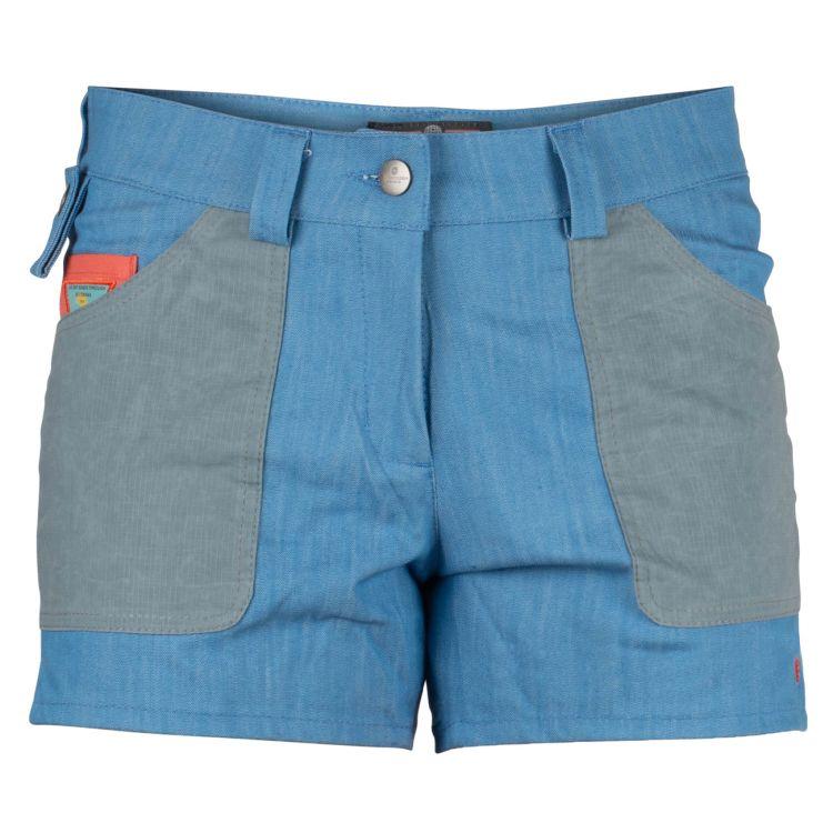 4 incher denim shorts fra amundsen sports til dame i fargen azure blue. produktbildet viser shortsen sett forfra