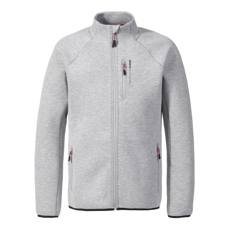 Evolution Full Zip Tech Sweater fra Musto i fargen Platinum. Produktbildet viser jakken sett forfra