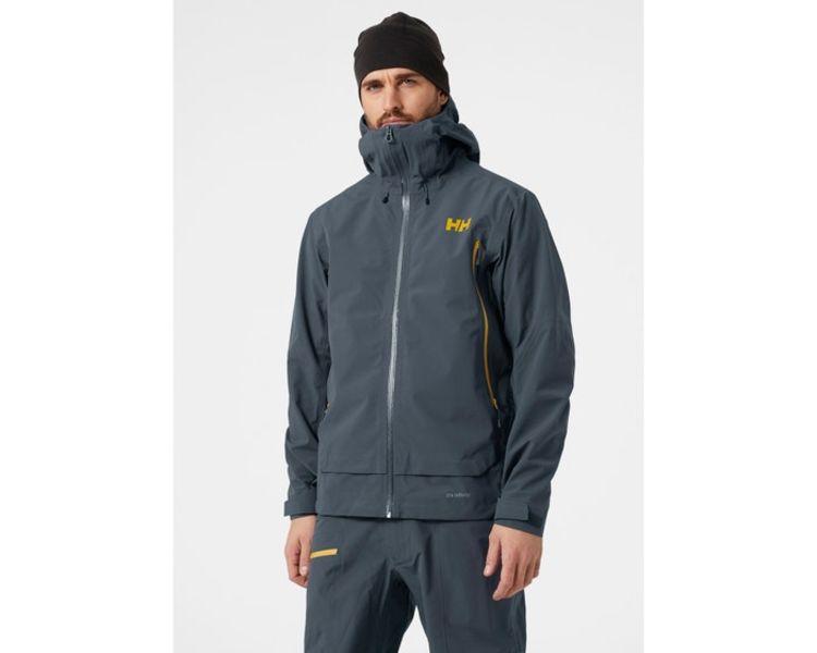 Verglas Infinity jakke fra Helly Hansen til herre i fargen Slate. Jakken er avbildet på herremodell, hvor jakken sees forfra