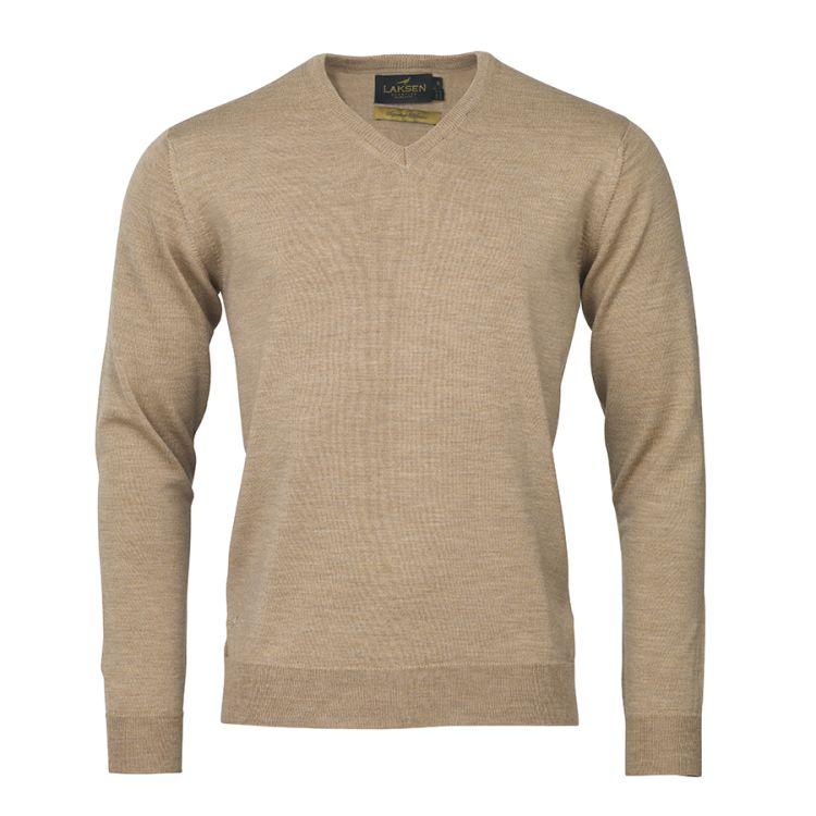 Sussex v-neck genser til herre fra Laksen Sporting. i fargen sand