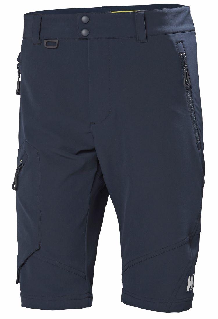 HP Softshel Shorts fra Helly Hansen til herre i fargen Navy. Produktbildet viser shorsten sett forfra