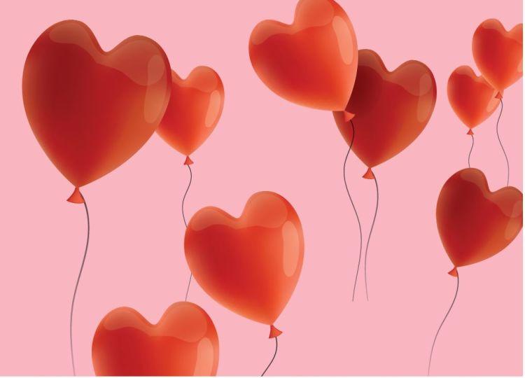 Flagg med hjerteballonger