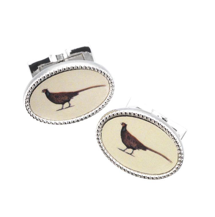enamel pheasant cuff link fra Laksen Sporting