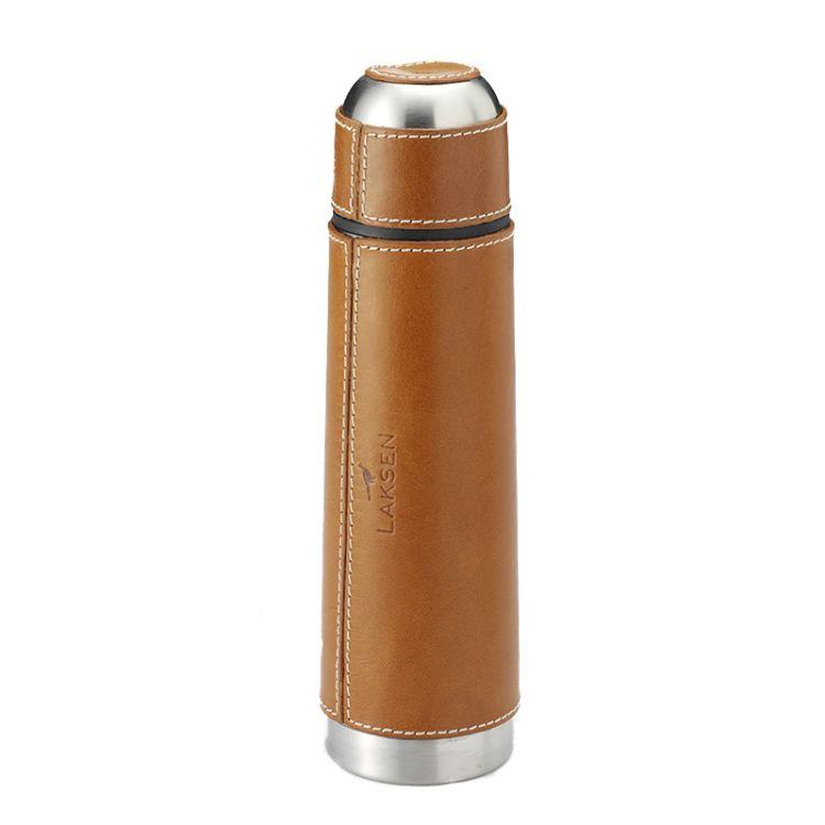 Thermal bottle termos fra Laksen i fargen natural oak. Produktbilde sett forfra