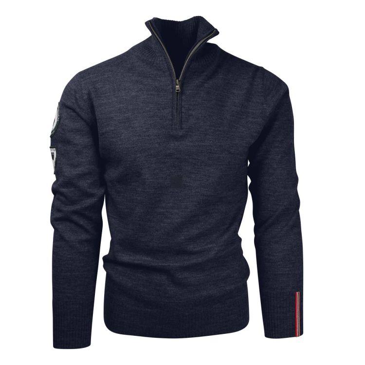 Amundsen Peak Half zip genser fra Amundsen Sports til herre, i fargen Faded Navy. Produktbildet viser genseren sett forfra