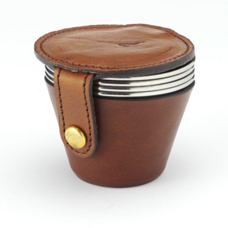 4 cups leater case fra Laksen i fargen mahogny. Produktbilde sett forfra