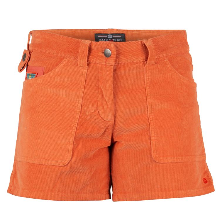 5 Incher Concord garment dyed shorts fra Amundsen sports til dame i fargen orange sunset. produktbildet viser shortsen sett forfra
