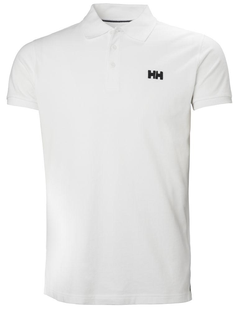Transat Polo fra Helly Hansen til herre i fargen white med en liten, sort HH-logo på brystet. Produktbildet viser tskjorten sett forfra