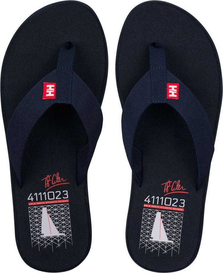 Seasand slippers fra Helly Hansen i fargen evening blue. produktbildet viser slippersene sett ovenfra, i par