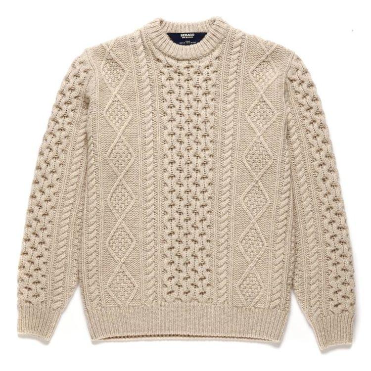 Flemsih strikket genser fra Sebago til herre. Produktbildet viser genseren sett forfra