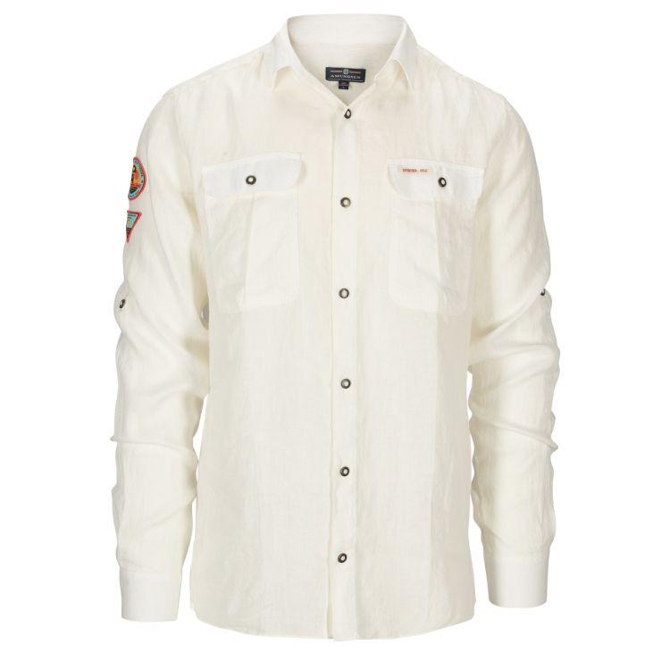 Safari Linen shirt garment dyed fra Amundsen Sports til herre i fargen natural. Produktbildet viser skjorten sett forfra
