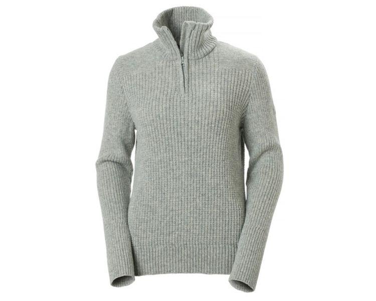 W Marka Wool Sweater Grey Melange fra Helly Hansen til dame. Produktbildet viser genseren sett forfra