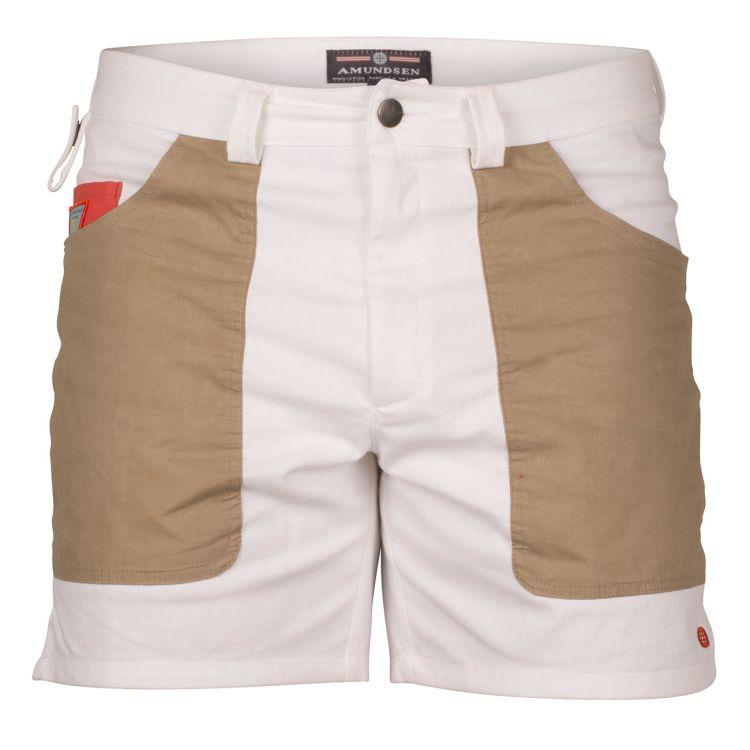 6 incher denim shorts fra amundsen sports til herre i fagren offwhite. produktbildet viser shortsen sett forfra