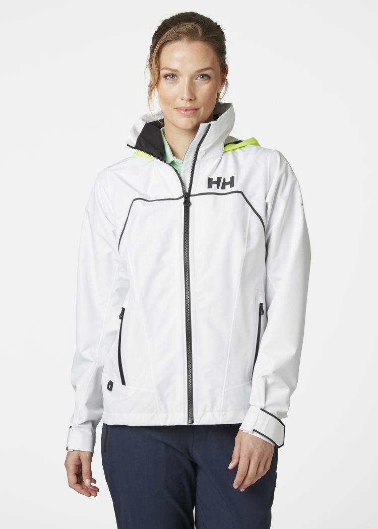 W HP Foil Jacket fra Helly Hansen til dame i farge white. Jakken ses på kvinnelig modell, og du ser jakken forfra
