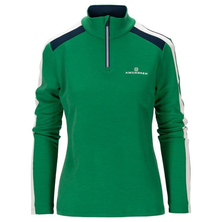 5mila half zip fra Amunsen Sports til dame i fargen winter green. Produktbildet viser genseren sett forfra