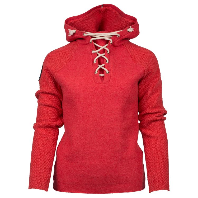 Boiled Hoodie Laced til dame i fargen weathered red. Produktbilde sett forfra
