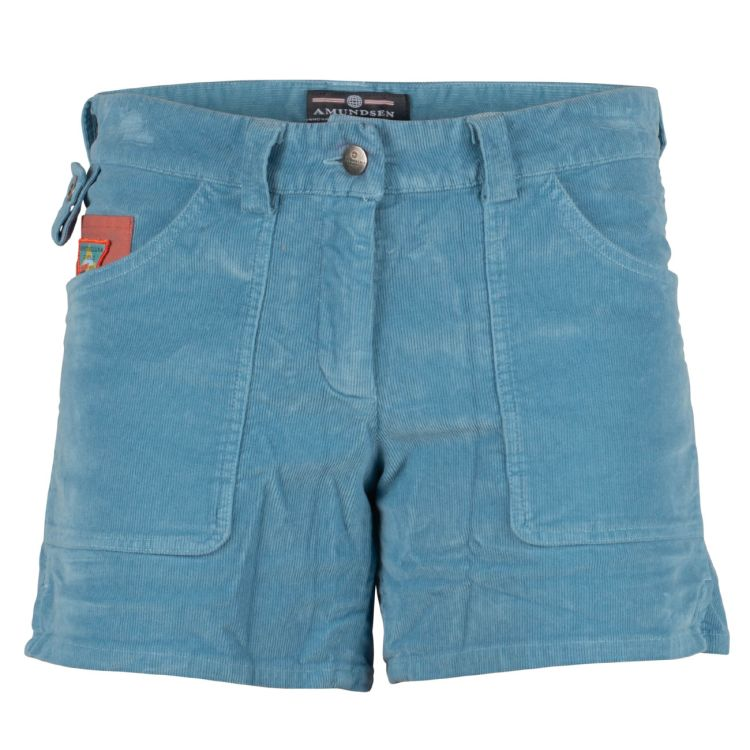 5 Incher Concord garment dyed shorts fra Amundsen sports til dame i fargen arona blue. produktbildet viser shortsen sett forfra