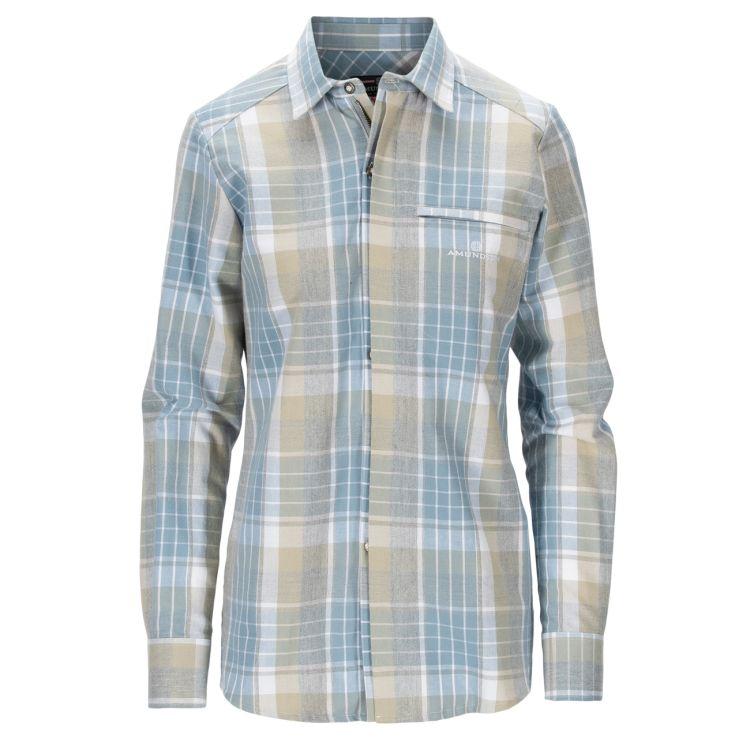 Skauen Field Shirt fra Amundsen Sports i fargen Arona Blue til dame. Produktbildet viser skjorten sett forfra