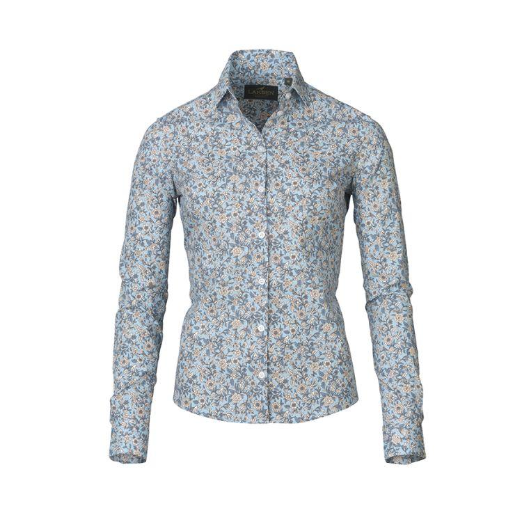 Flora Cotton shirt fra Laksen i fargen blue. Produktbilde sett forfra