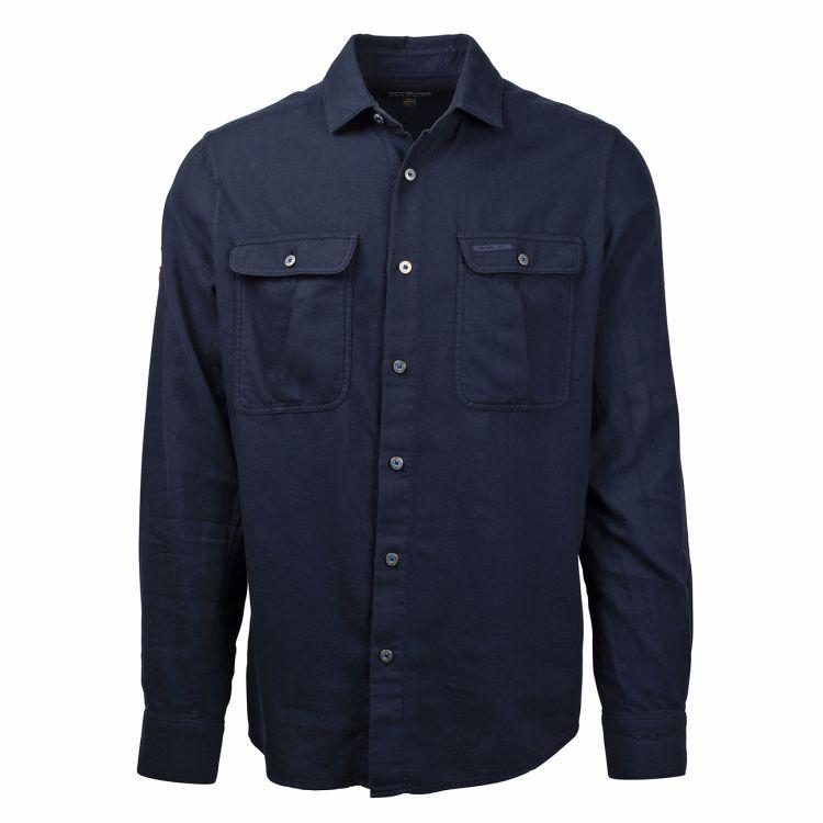 safari flanel shirt herre fra amundsen sports blå forfra