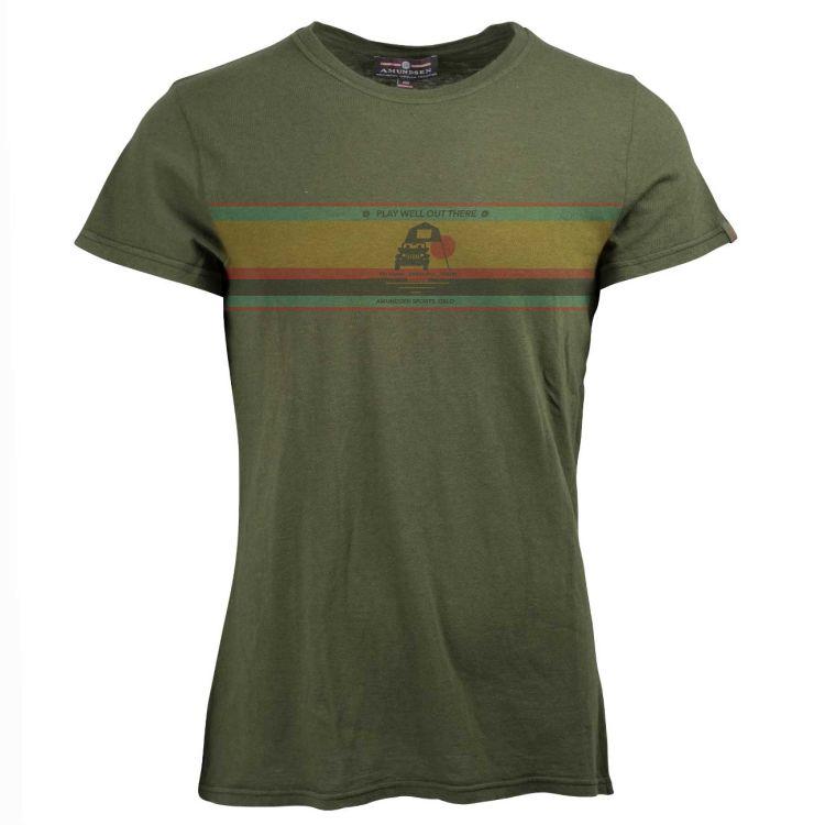 Summer Wool Tee Play Well fra Amundsen Sports til herre i fargen olive. Produktbildet viser tskjorten sett forfra