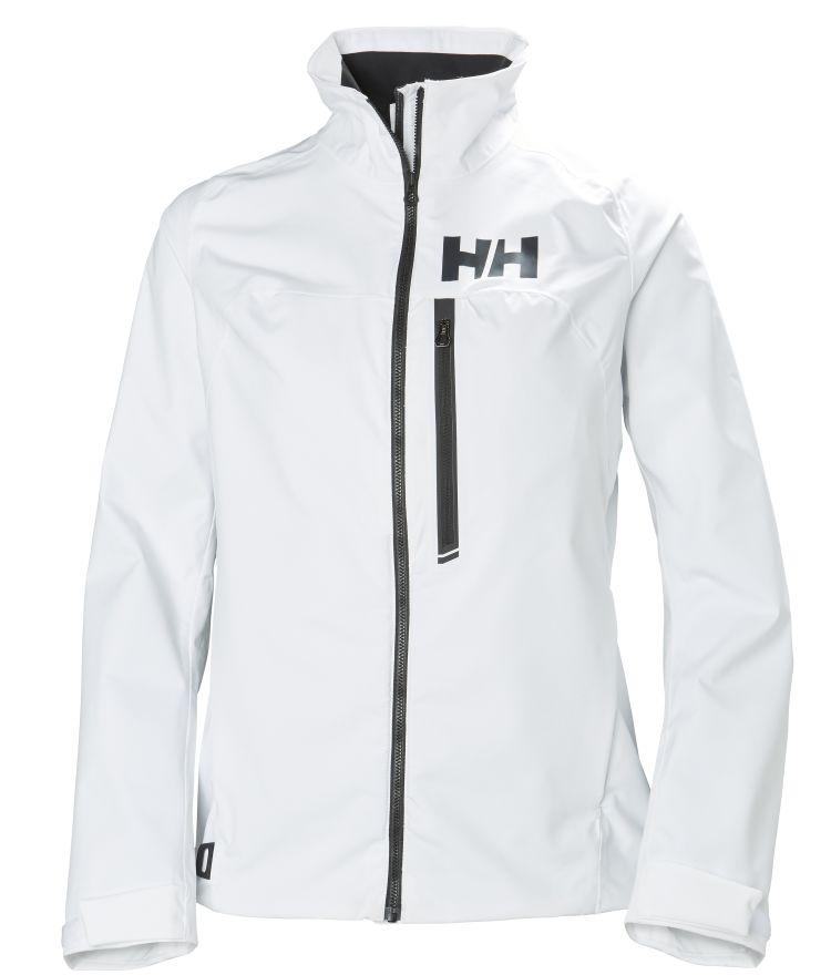 hp racing jacket fra helly hansen til dame i fargen white. produktbildet viser jakken sett forfra