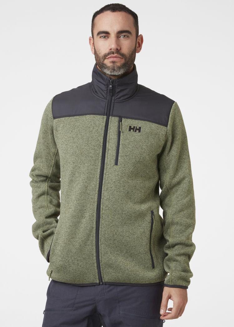 Varde Fleece jakke fra Helly Hansen. Grønn jakke til herre. Bildet er av jakken på modell sett forfra